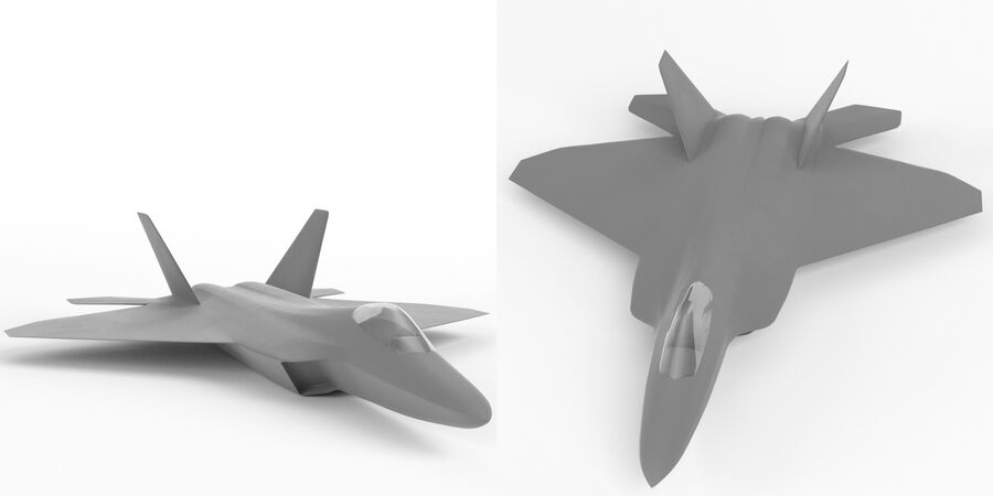 F-22 Raptor base mesh royalty-free 3d model - Preview no. 2