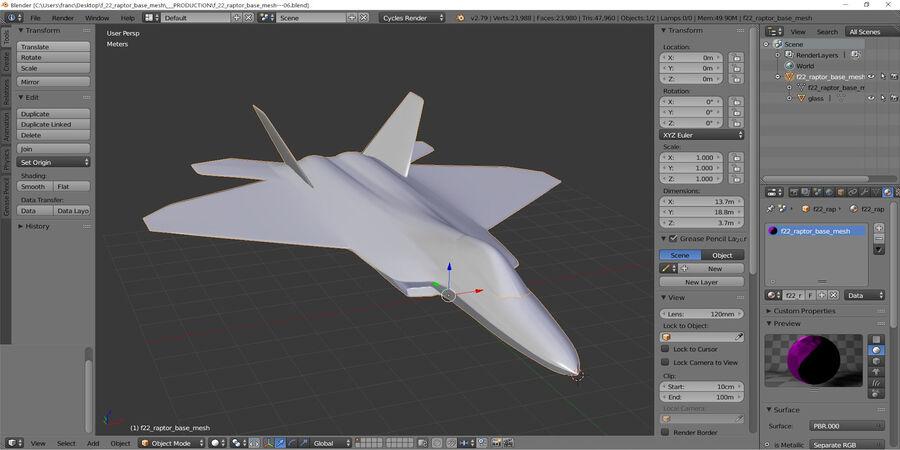 F-22 Raptor base mesh royalty-free 3d model - Preview no. 6