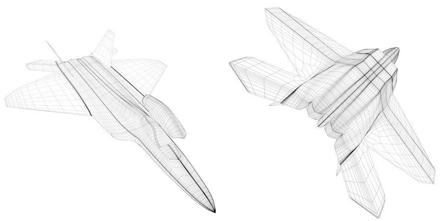 F-22 Raptor base mesh royalty-free 3d model - Preview no. 5