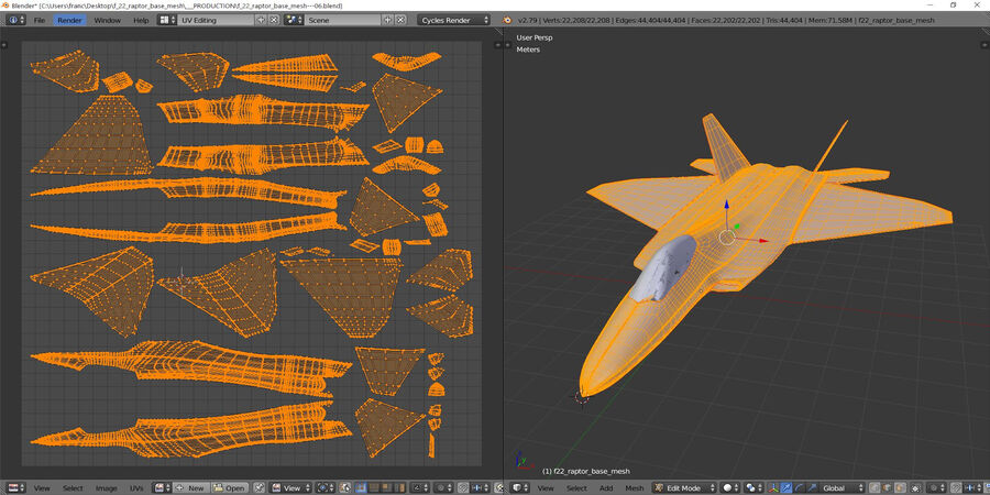 F-22 Raptor base mesh royalty-free 3d model - Preview no. 7