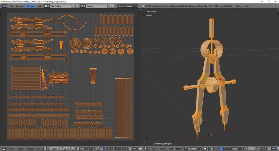 Opracowanie kompasu royalty-free 3d model - Preview no. 10