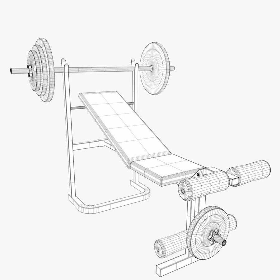 Peso del banco del equipo del gimnasio royalty-free modelo 3d - Preview no. 7