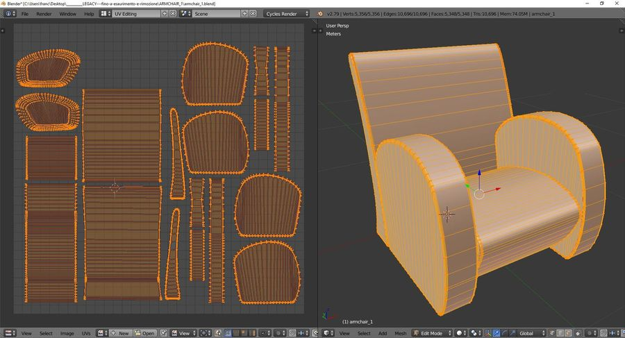 Armchair 1 royalty-free 3d model - Preview no. 10