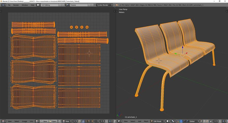Sillones 1 royalty-free modelo 3d - Preview no. 10