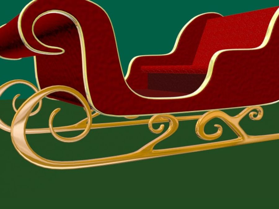 Traîneau du Père Noël royalty-free 3d model - Preview no. 7