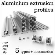 Aluminium extrusion profiles 3d model