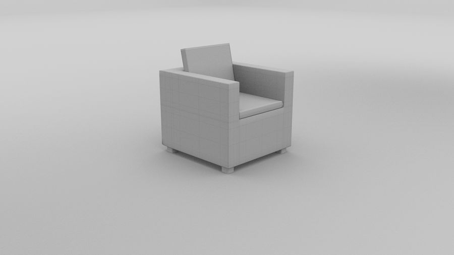 Poltrona in vimini royalty-free 3d model - Preview no. 4