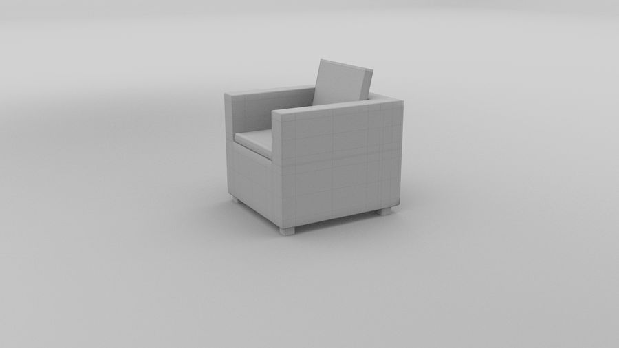 Poltrona in vimini 2 royalty-free 3d model - Preview no. 5