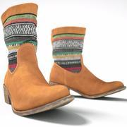 Brown & Color Stripes Boot 3d model