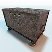 Antique Wooden Chest Trunk 3d model