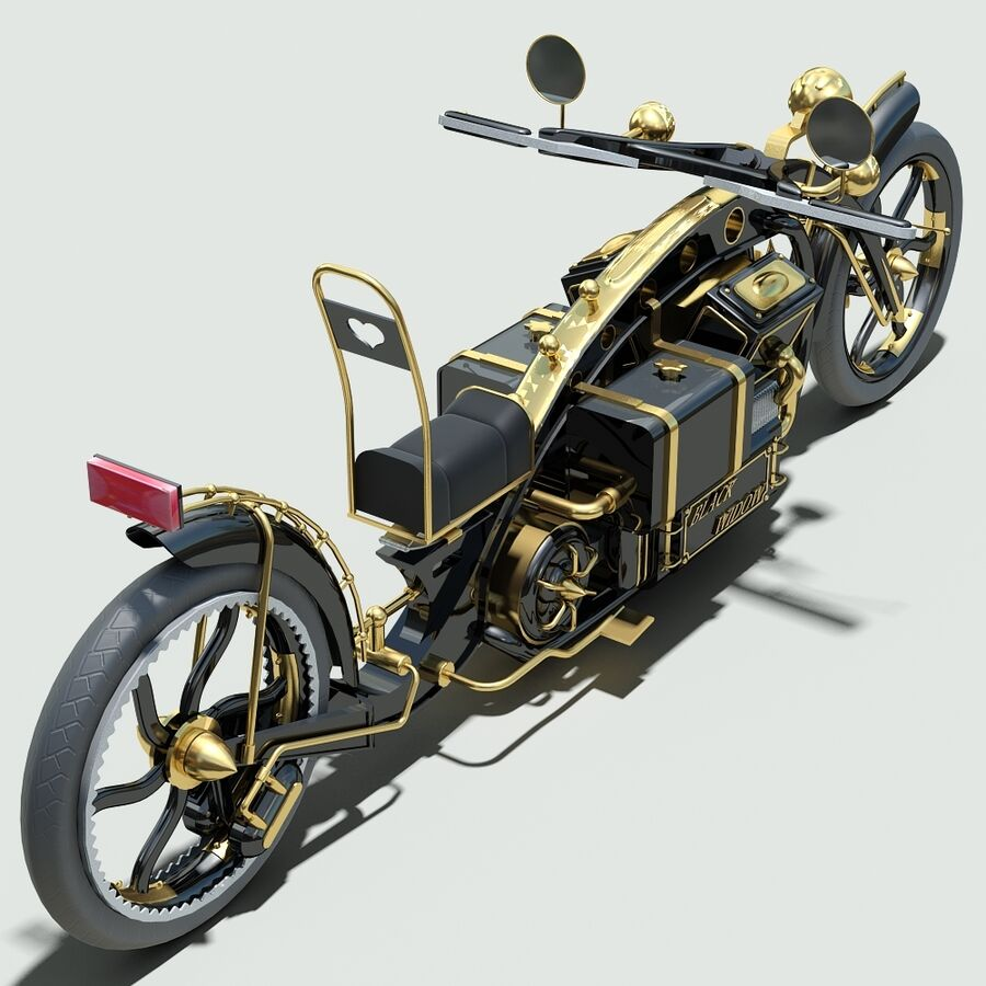 Steampunk Concept Bike royalty-free 3d model - Preview no. 9