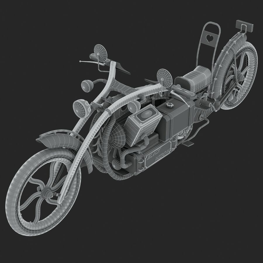 Steampunk Concept Bike royalty-free 3d model - Preview no. 13