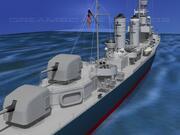 Gleaves Sınıfı Yok Edici USS Doyle DD494 3d model