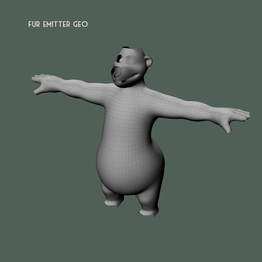 Niedźwiedź kreskówki royalty-free 3d model - Preview no. 17