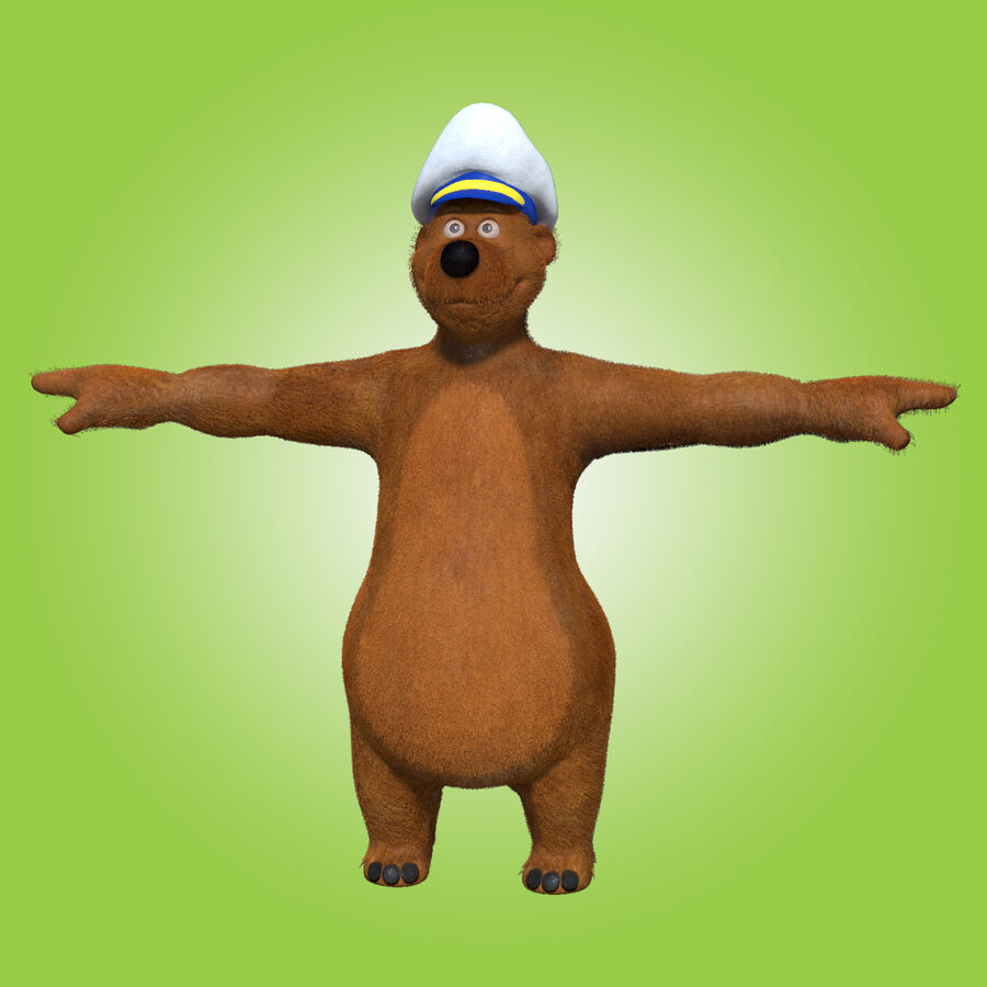 Niedźwiedź kreskówki royalty-free 3d model - Preview no. 2