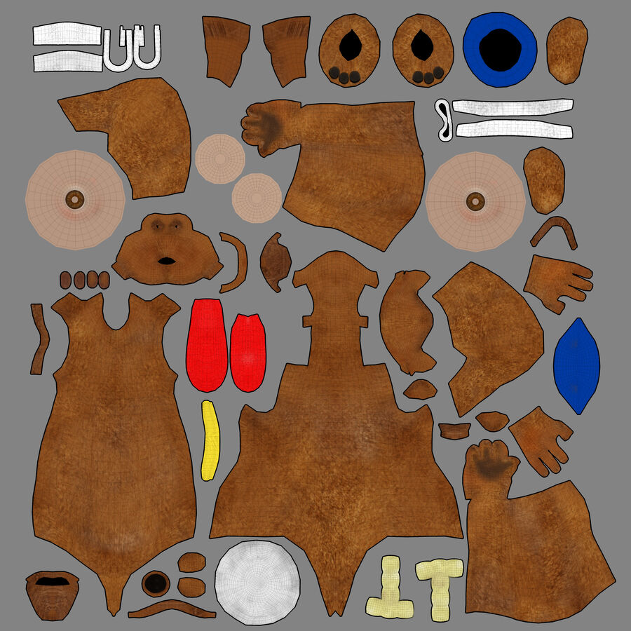 Niedźwiedź kreskówki royalty-free 3d model - Preview no. 7