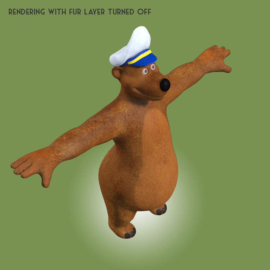Niedźwiedź kreskówki royalty-free 3d model - Preview no. 5