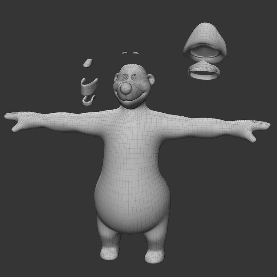 Niedźwiedź kreskówki royalty-free 3d model - Preview no. 15