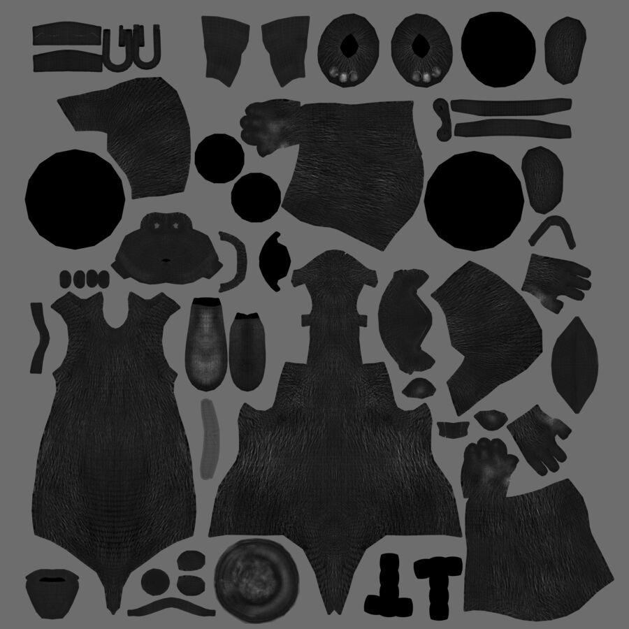 Niedźwiedź kreskówki royalty-free 3d model - Preview no. 6