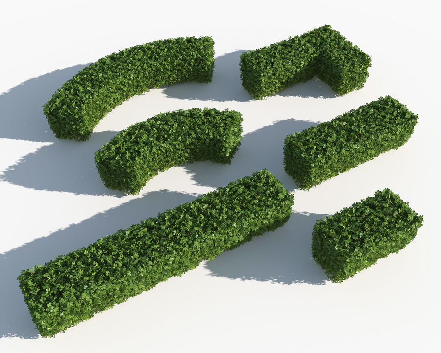 Trimmed Hedges Collection royalty-free 3d model - Preview no. 2
