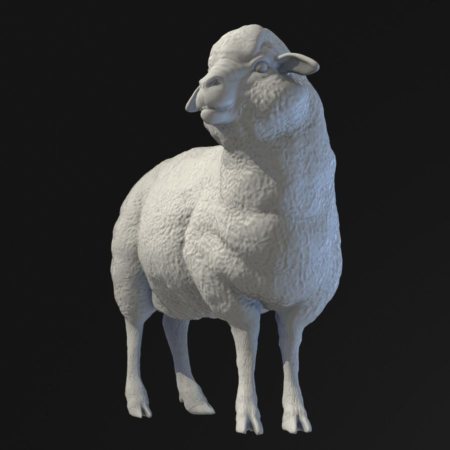 Sheep Statue royalty-free 3d model - Preview no. 3