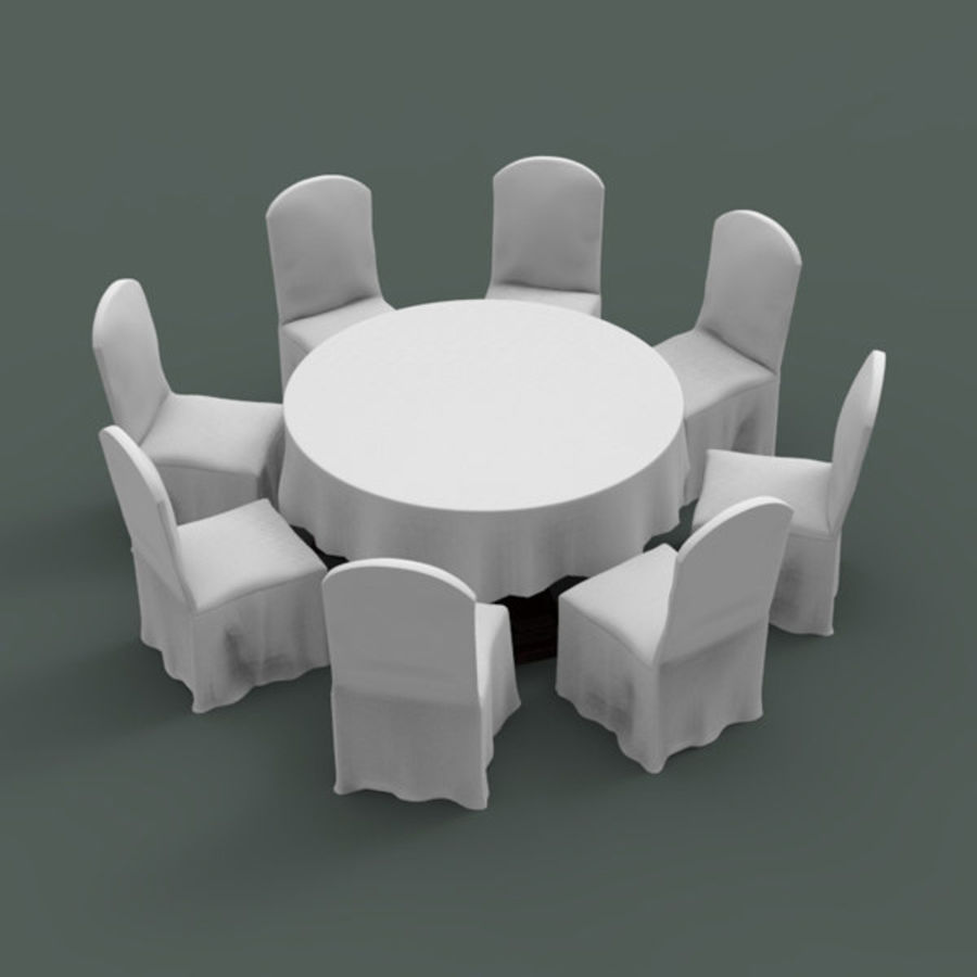 Banquet table and chair royalty-free 3d model - Preview no. 1
