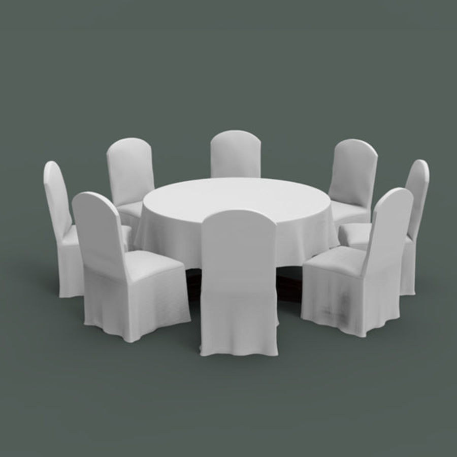 Banquet table and chair royalty-free 3d model - Preview no. 4