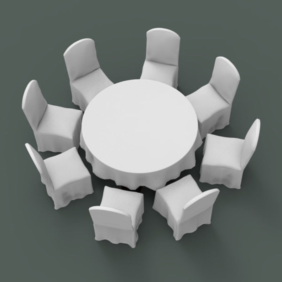 Banquet table and chair royalty-free 3d model - Preview no. 5