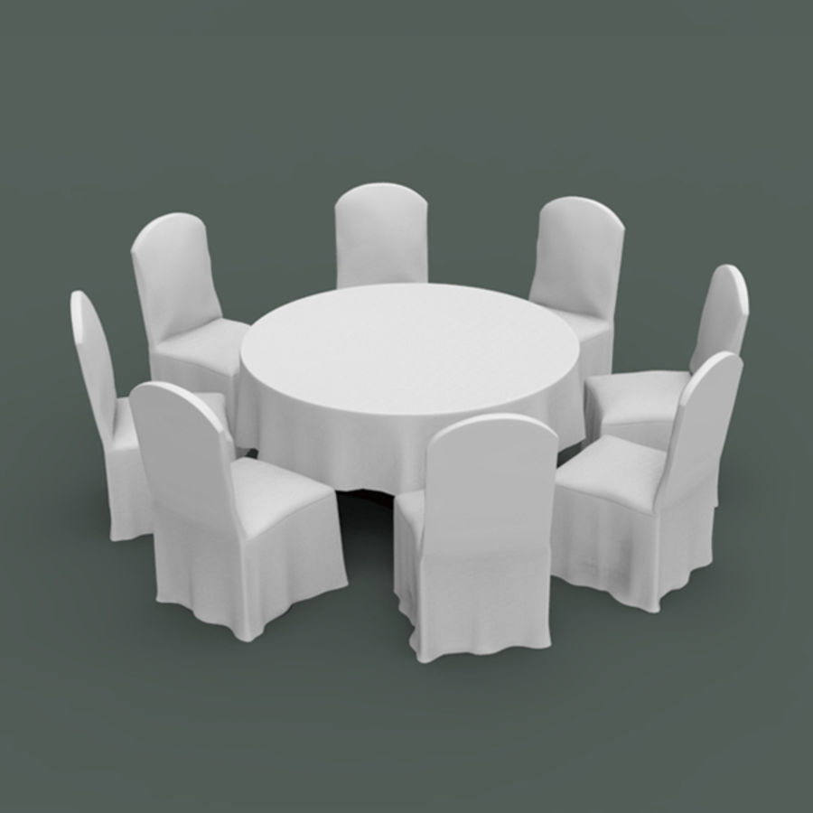 Bankettbord och stol royalty-free 3d model - Preview no. 2