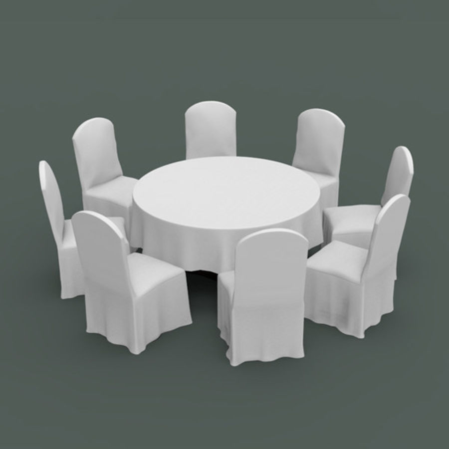 Banquet table and chair royalty-free 3d model - Preview no. 2