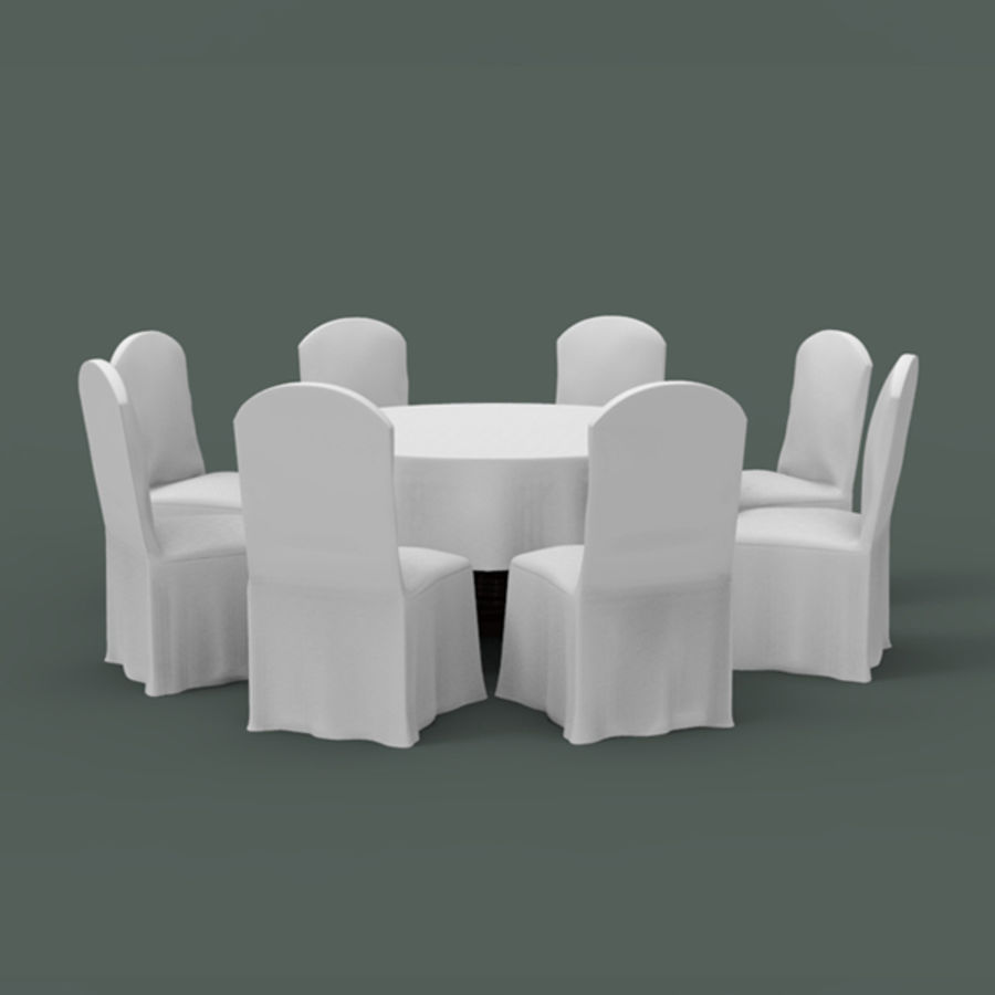 Bankettbord och stol royalty-free 3d model - Preview no. 3