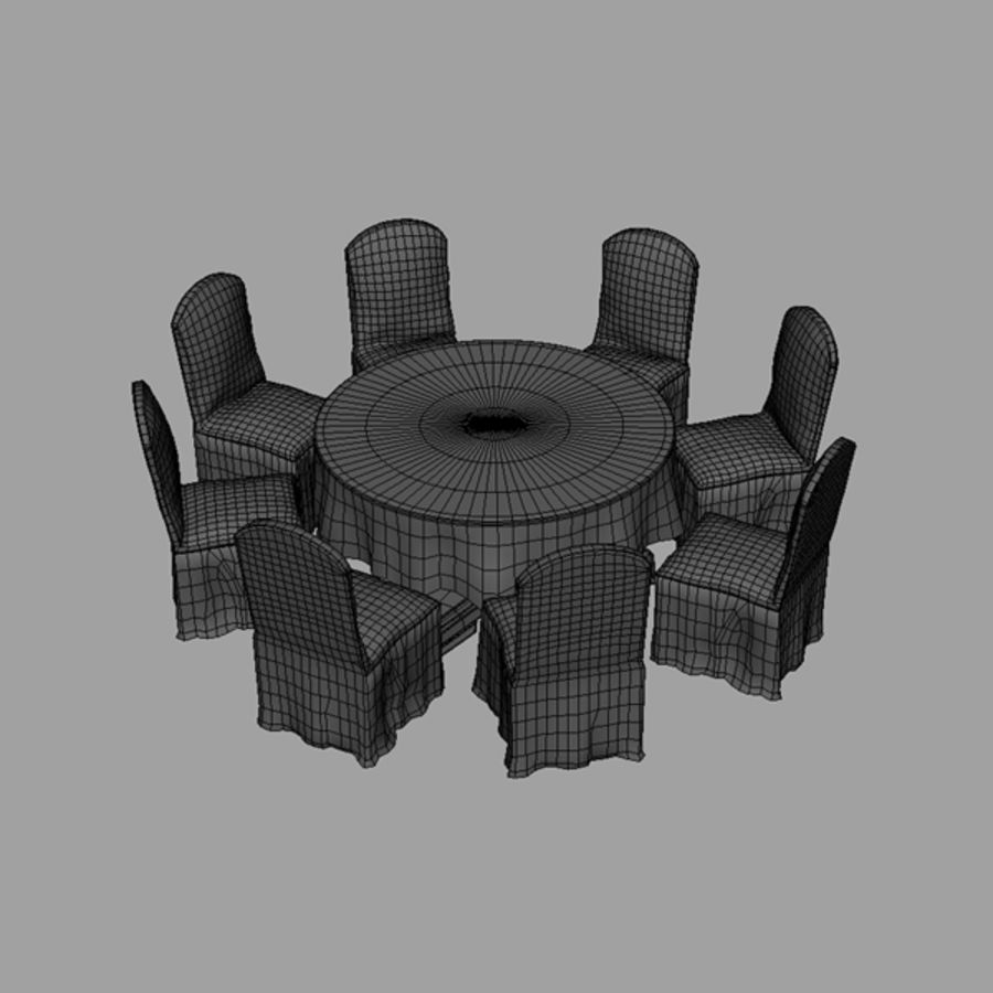 Bankettbord och stol royalty-free 3d model - Preview no. 6