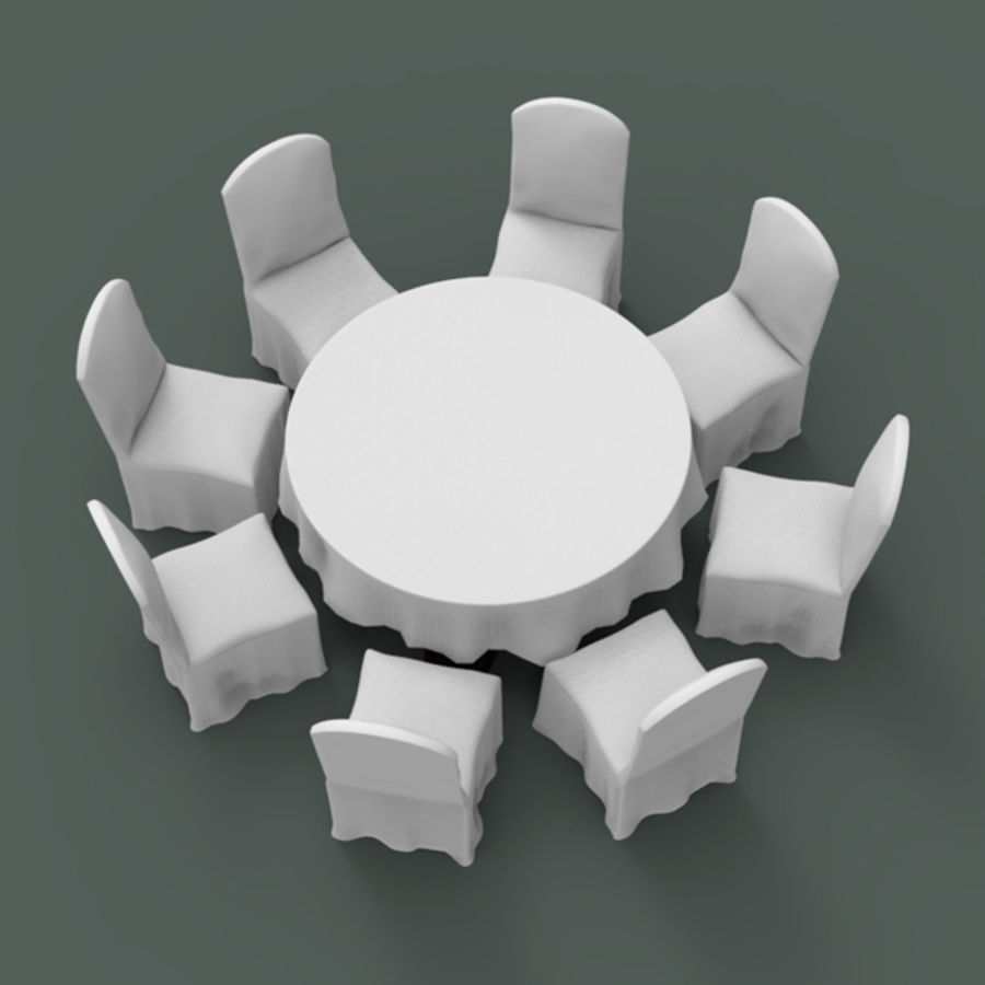 Bankettbord och stol royalty-free 3d model - Preview no. 5