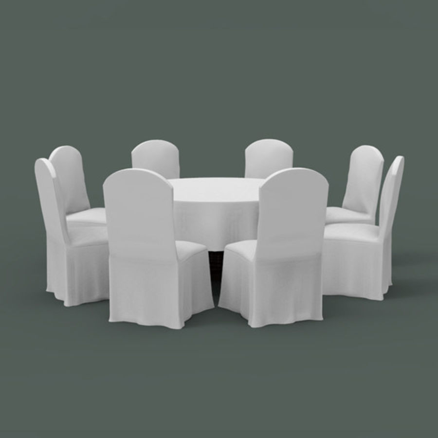 Banquet table and chair royalty-free 3d model - Preview no. 3