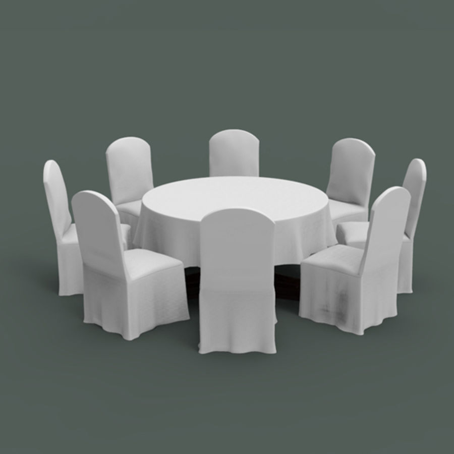 Bankettbord och stol royalty-free 3d model - Preview no. 4