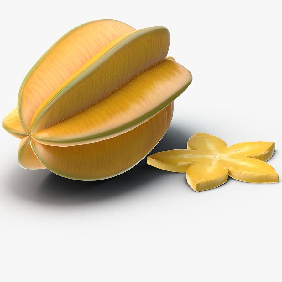 Star Fruit royalty-free 3d model - Preview no. 7