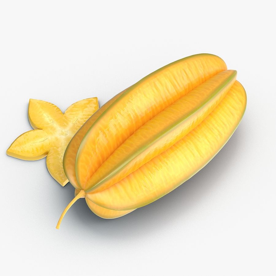 Star Fruit royalty-free 3d model - Preview no. 5