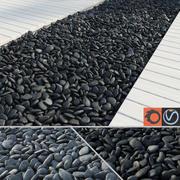 黒とグレーの小石 3d model