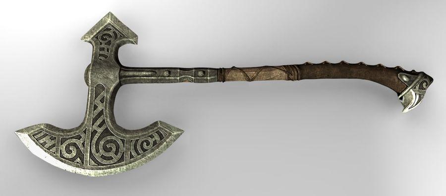 Skyrim Steel war axe royalty-free 3d model - Preview no. 2