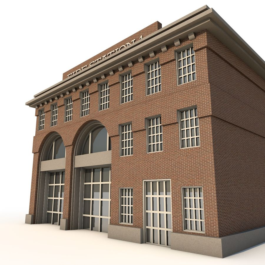 Fire Station royalty-free 3d model - Preview no. 3