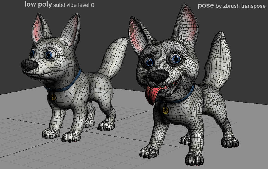Dog Cartoon royalty-free 3d model - Preview no. 26