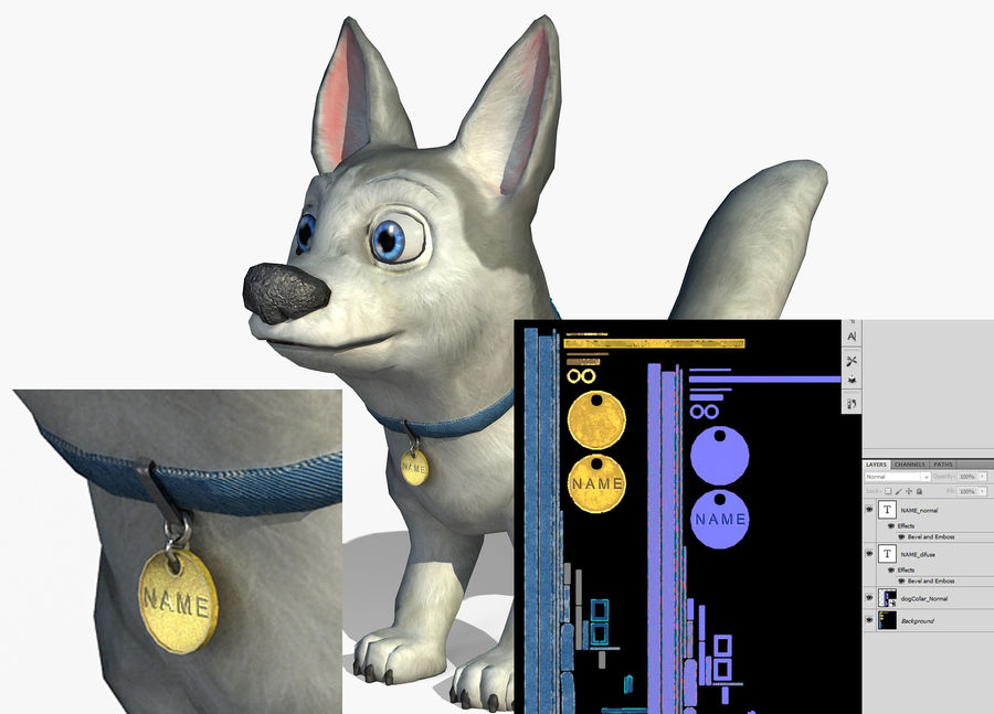 Dog Cartoon royalty-free 3d model - Preview no. 19