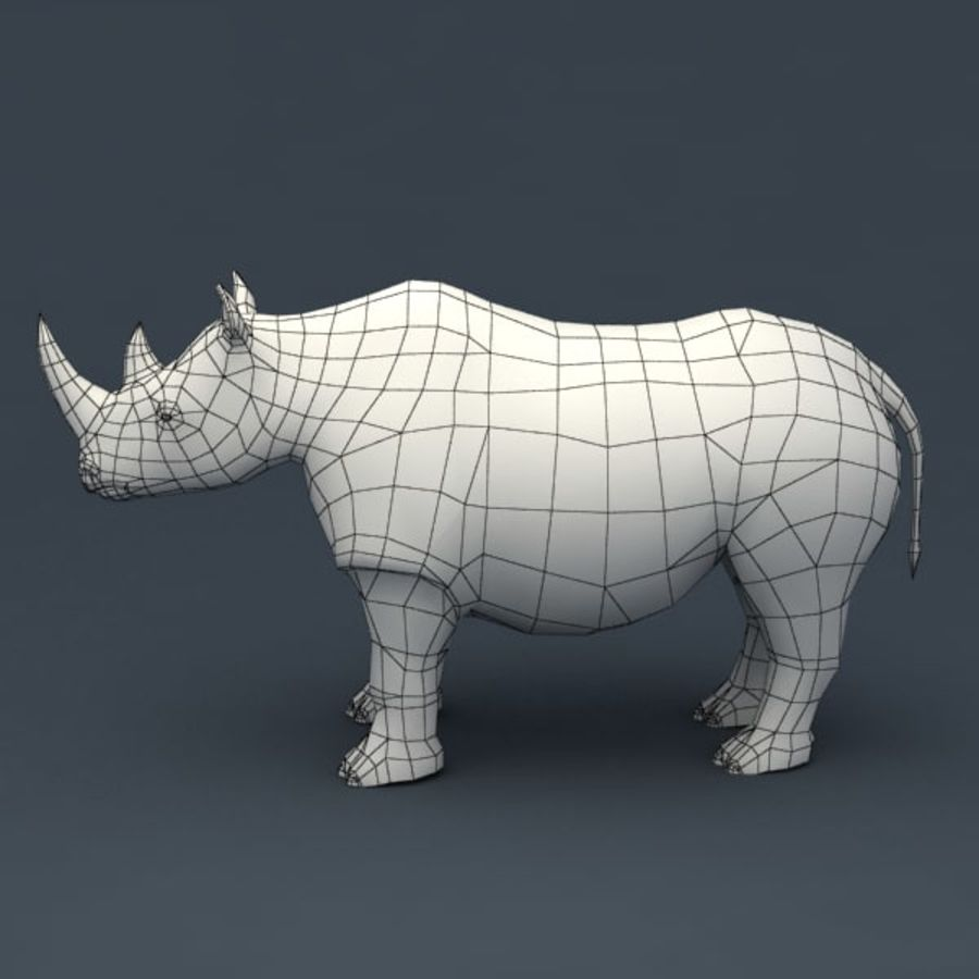 Rhino rigged model royalty-free 3d model - Preview no. 9