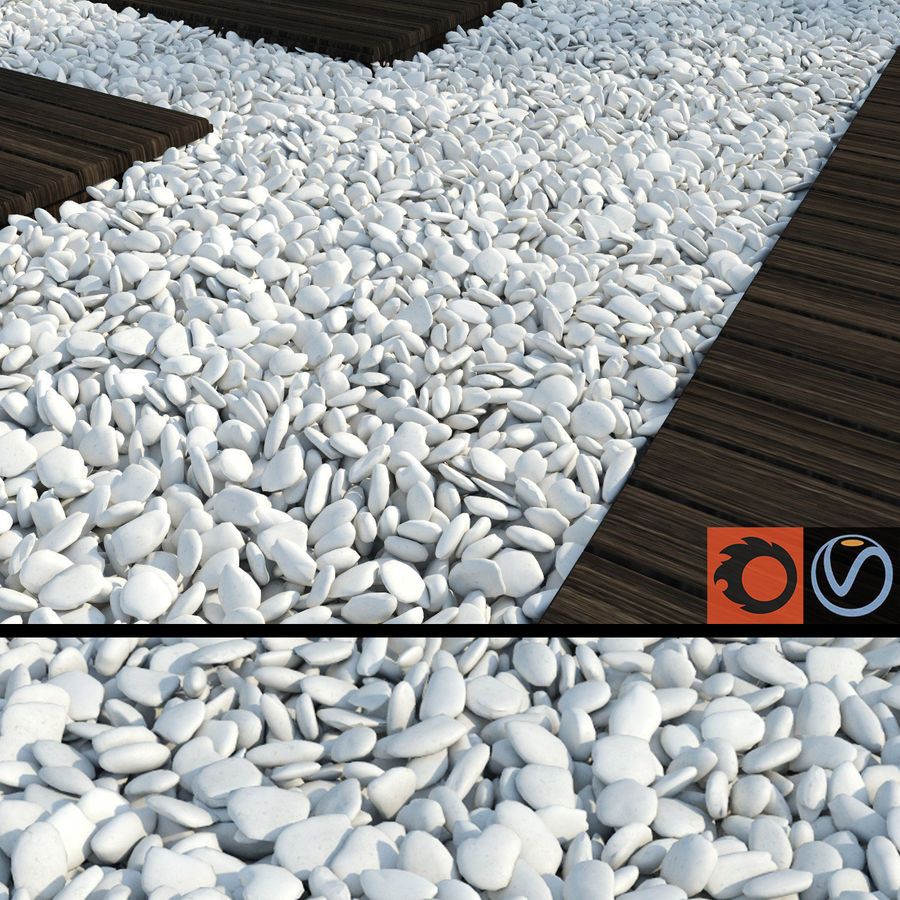White Pebbles royalty-free 3d model - Preview no. 1