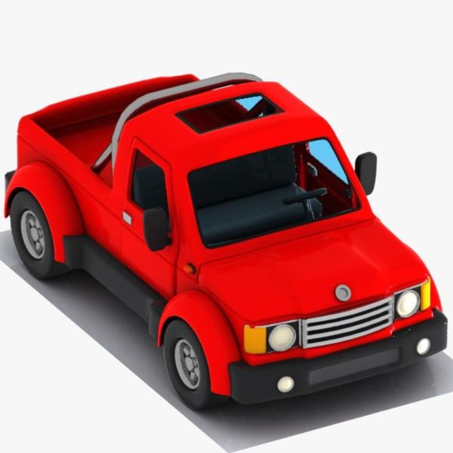 Cartoon Pickup Truck 3 royalty-free 3d model - Preview no. 8