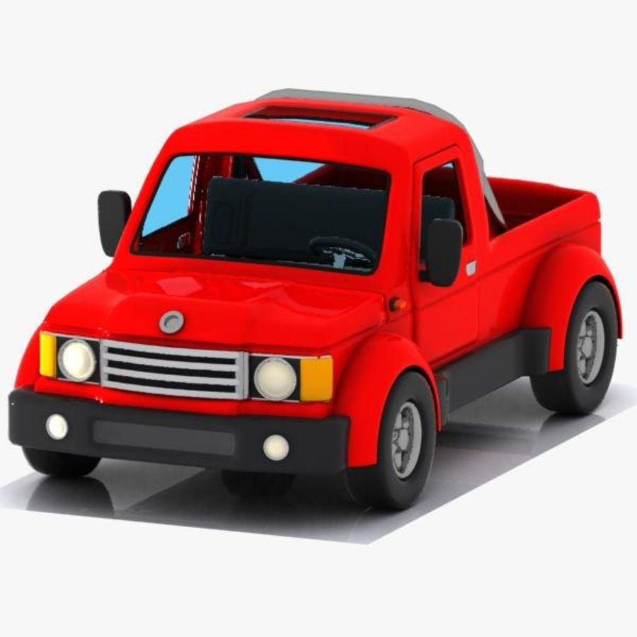 Cartoon Pickup Truck 3 royalty-free 3d model - Preview no. 3