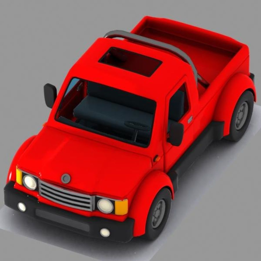 Cartoon Pickup Truck 3 royalty-free 3d model - Preview no. 2