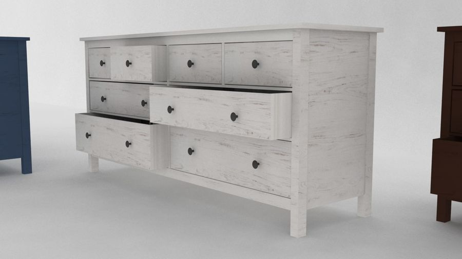 Komoda 8 szuflad IKEA HEMNES royalty-free 3d model - Preview no. 2