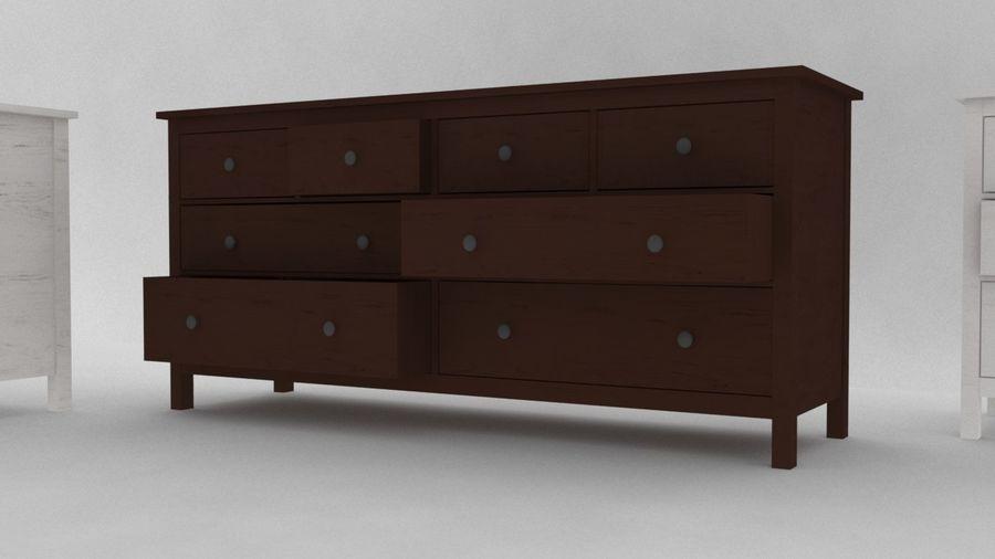 Komoda 8 szuflad IKEA HEMNES royalty-free 3d model - Preview no. 3