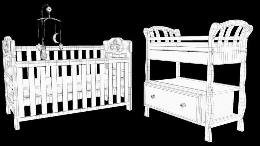 ベビーベッド、テーブルとモバイルセットの交換 royalty-free 3d model - Preview no. 5